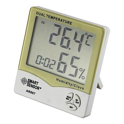 Máy Đo Độ Ẩm Nhiệt Độ Trong Nhà Ngoài Trời Màn Hình LCD Kèm Kiểm Tra Thời Tiết Lịch Và Đồng Hồ Báo Thức Smart Sensor AR867