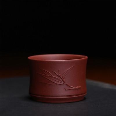 Bộ 6 chén tử sa Nghi Hưng chén trà họa tiết trúc đoạn phụ kiện bàn trà trà đạo