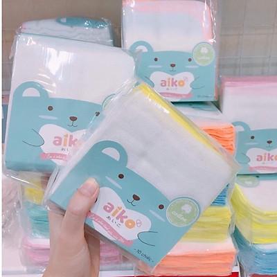 Bịch 10 Khăn sữa Cotton viền màu 4 lớp an toàn cho trẻ sơ sinh - Aiko (Hàng Việt Nam xuất Nhật) (Khăn kích thước 27cm x 25cm)