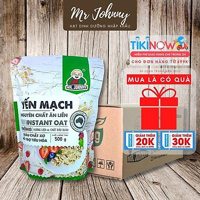 Combo 5 Bịch Yến Mạch Úc Tươi Mr Johnny 500g - Cho người ăn kiêng, giảm cân - Cán vỡ - Instant Oat (Xanh lá)