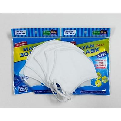 Khẩu trang người lớn cao cấp MAYAN PM2.5 3D MASK, gói 5 chiếc