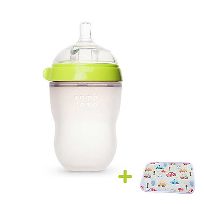 Bình Sữa cho bé 250ml. Bình Sữa Silicone Comotomo chính hãng - Tặng kèm tấm lót chống thấm cho bé