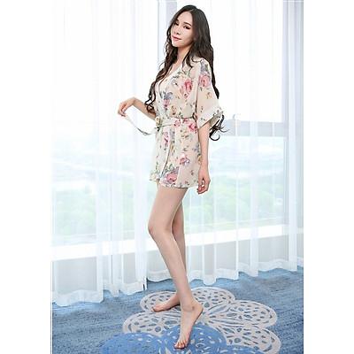 Áo choàng nữ kimono đi biển voan hoa trắng ngà gợi cảm chất đẹp kèm quần chip lọt khe