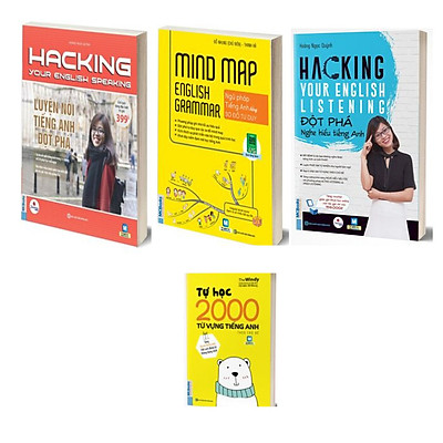 Combo Hacking your English speaking - Hacking your english listening - Mind map English Grammar - Tự học 2000 từ vựng tiếng Anh theo chủ đề