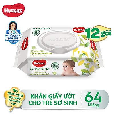 Combo 12 Gói Khăn giấy ướt cho trẻ sơ sinh HUGGIES không mùi, gói 64 tờ
