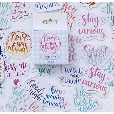 Hộp 46 Miếng Dán Sticker  Hình Chữ Vintage Love You Always Trang Trí Sổ Thiệp