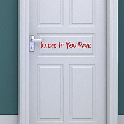 Knock if You Dare Red Door Stickers Peel and Stick for Vinyl Wall Decor