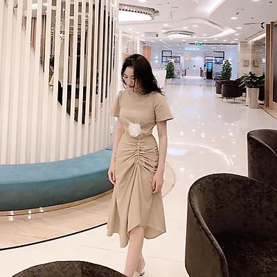 Đầm Nhún Sườn Đính Ngo.c Tra.i (Kèm Tag Hoa)