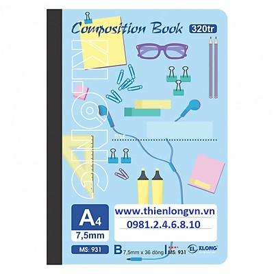 Sổ may dán gáy A4 - 320 trang; Klong 931 xanh biển