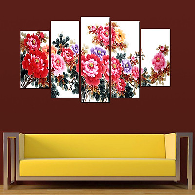 Tranh treo tường, tranh trang trí PP_ NT543 bộ 5 tấm ghép hoa mẫu đơn