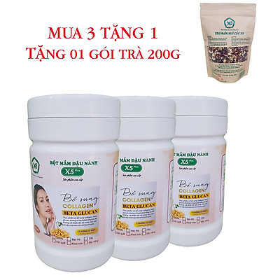 Combo 3 Hộp Bột Mầm Đậu Nành X5 Có Bổ Sung Collagen, Betaglucan (Tặng trà mầm ngũ cốc X5- 200gr)