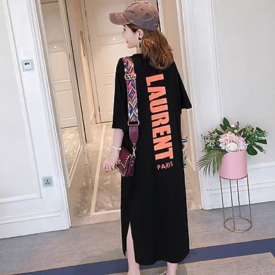 váy suông dáng dài in chữ lau phom rộng chất cotton