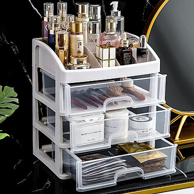 Tủ,Kệ đựng đồ trang điểm mica trong suốt, 4 tầng, để mỹ phẩm tiện lợi - Hộp đựng mỹ phẩm để bàn