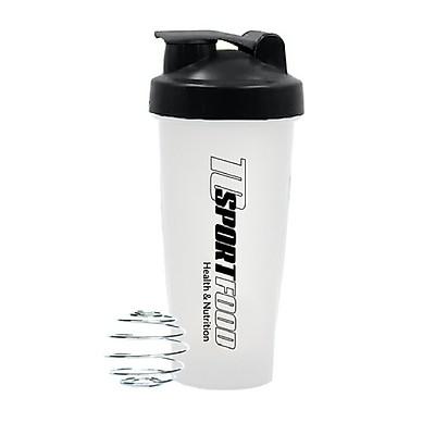 Bình lắc Shaker pha sữa cho người tập GYM hiệu TCSPORTFOOD - Bình nước thể thao Shaker 600 ml - Trắng nắp đen