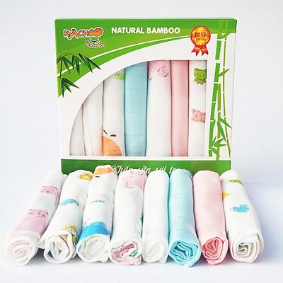Khăn sữa sợi tre mềm mại thấm hút tốt, thương hiệu KACHOO 8 cái/hộp kích thước 30x30cm