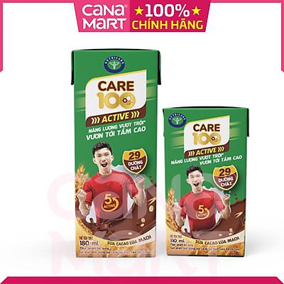 [Thùng 48H x 110ml] Sữa ca cao lúa mạch Care 100 Active phát triển chiều cao, tăng cường sức đề kháng cho trẻ từ 3 tuổi