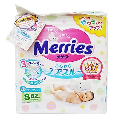 Tã/Bỉm Dán Merries Size S 82 miếng (dành cho bé 4 - 8 kg)