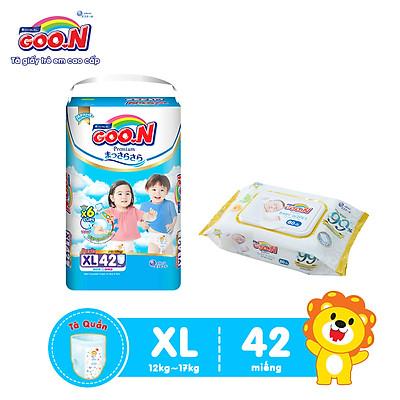 Tã Quần Goo.n Premium Cao Cấp Gói Cực Đại Size XL42 (42 Miếng) + Tặng bịch khăn ướt Goo.N Premium 80 miếng cao cấp