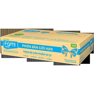 Thùng Sữa đậu nành Fami Canxi mix 4 vị Nguyên Chất, Ít Đường, Phô Mai, Cà Phê (200ml x 36 Hộp)