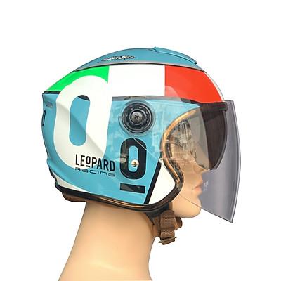 Mũ bảo hiểm 3/4 đầu Napoli N125 mẫu 2 kính đi được cả ngày và đêm tem  LEoPARD O