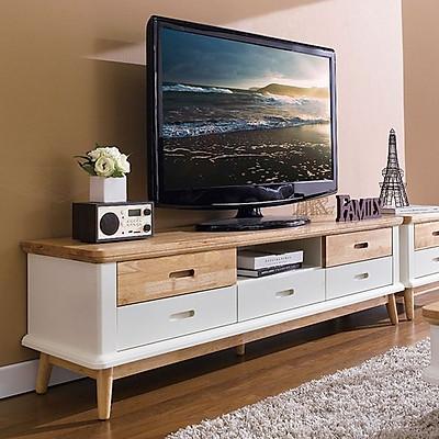 Tủ TV 5 Ngăn Kéo Vivid Gỗ Tự Nhiên Ibie LV5KVIVR - Trắng (160 x 42 cm)
