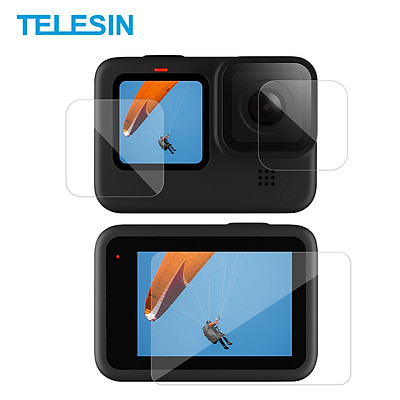 TELESIN 3pcs Tempered Glass Screen Protector Protective Lens Film Replacement for GoPro Hero 9 Black Action Camera