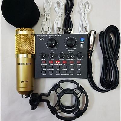 Combo Bộ míc thu âm BM900 và Sound Card V8 chuyên dụng hát live stream với đầy đủ chức năng chỉnh giọng âm thanh