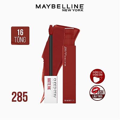 Son Kem Lì 16h Lâu Trôi Maybelline New York Super Stay Matte Ink Lipstick 5ml 285 Gritty Đỏ Hồng Đất