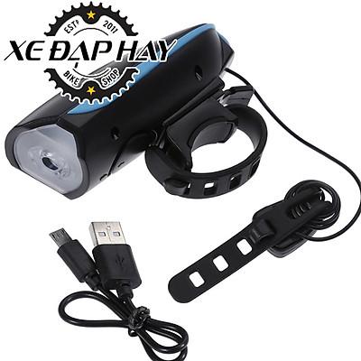 Phụ Kiện Xe Đạp | Đèn Xe Đạp Kết Hợp Còi 7588 | Sạc USB Chống Nước |Độ Sáng 250 Lumen - Âm Vang Còi 140dB | Pin 1200 mah | Sáng Tối Đa 5 Giờ