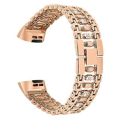 〖Follure〗Bling Stainless Steel Metal Bracelet Strap Band for Fitbit Charge 3 Smart Watch