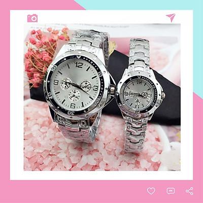 Đồng hồ thời trang nam nữ Rs1, mặt tròn dây kim loại màu bạc, mẫu đồng hồ cặp nam nữ hot, chạy 3 kim Giờ - Phút - Giây