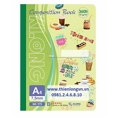 Sổ may dán gáy A4 - 360 trang; Klong 975 bìa xanh lá