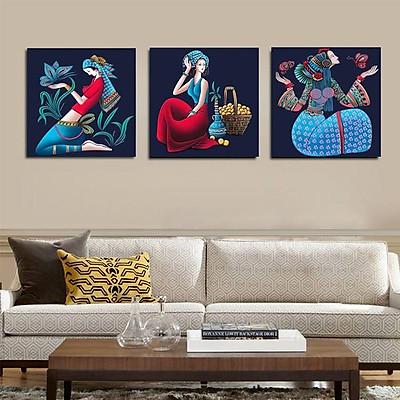 Bộ ba tranh phủ gương, tranh tráng gương cao cấp cô gái dân tộc