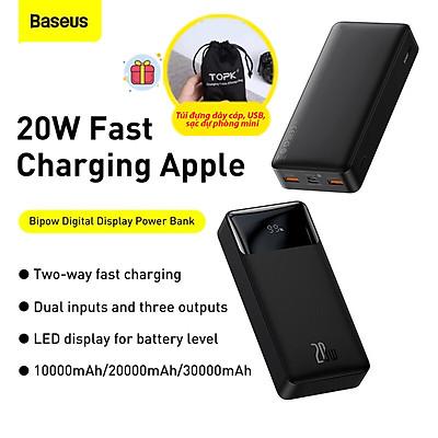 (Tặng túi đựng TOPK) Pin sạc dự phòng Baseus dung lượng 10000mAh, công suất 20W, màn hình LED hiển thị phần trăm pin, sạc nhanh cho iPhone, Samsung, Xiaomi,...-Hàng chính hãng