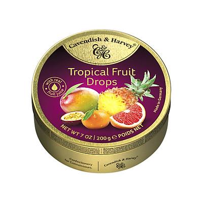 Kẹo Trái Cây Nhiệt Đới Cavendish & Harvey (175g) Tropical Fruit Cao Cấp Hộp Thiếc Vàng Nhập Khẩu