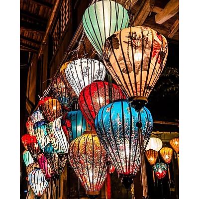 Đèn lồng vải lanh hoa họa tiết  xắn size 40 cm