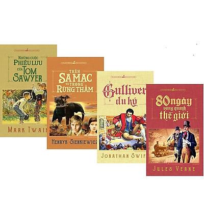 combo 4 Sách - Trên sa mạc và trong rừng thẳm + Gulliver du ký + Những cuộc phiêu lưu của Tom Sawyer + 80 ngày vòng quan