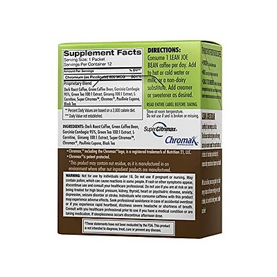 Lean Joe Bean Instant Keto Coffee for Weight Loss   Slimming & Detox Dark Roast Arabica Blend   Metabolism Boosting & Diet-Friendly - Paleo, Vegan, Gluten Free   Clinically Proven Effective   24 Pack