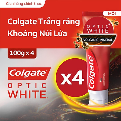 Bộ 4 kem đánh răng làm trắng răng Colgate Optic White từ khoáng núi lửa 100g