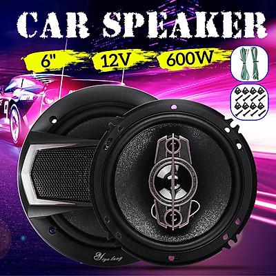 2Pcs 12V 6 Inch 600 Watt 4-Way Car Audio Speaker Coaxial SubWoofer Stereo Horn