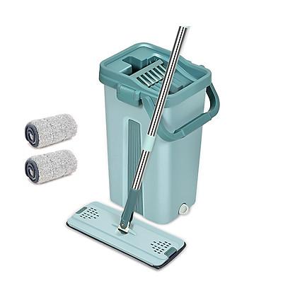 BỘ LAU NHÀ THÔNG MINH TỰ VẮT BLNRE hai ngăn vắt và giặt, xả nước tiện lợi ở đáy thùng, bông lau tĩnh điện MICRO FIBER 33cm có hai đầu móc chắc chắn, nắp thùng dễ tháo rời vệ sinh