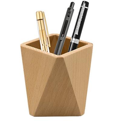 Ống Cắm Bút Để Bàn Bằng Gỗ NPH01, Hộp Đựng Bút Kiểu Dáng Đa Giác Hiện Đại, Nội Thất Bàn Làm Việc