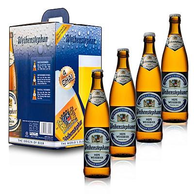Combo 4 chai bia Đức Weihenstephan 500 ml ( 4 Hefeweissbier)