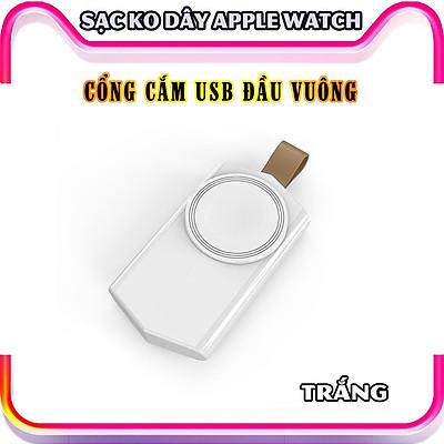 Đế Sạc Không Dây dành cho đồng hồ thông minh Apple Watch 38/40/42/44mm Series 1/2/3/4/5/6/Se cổng cắm USB cao cấp loại bỏ túi (Mã 886) - Trắng, Đen.