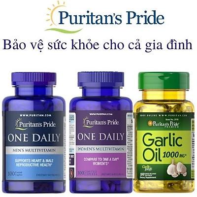 Combo 3 sản phẩm tăng cường sức khỏe cho cả gia đình, bổ sung vitamin tổng hợp, giảm nguy cơ mắc cúm Multivitamin và Garlic Oil 1000mg của Puritan's Pride