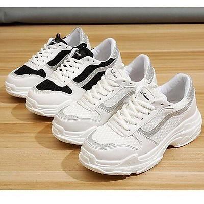 [] Giày thể thao trắng đen phối viền nhũ đế cao (hàng fullbox) - Dung Giay