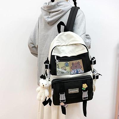 Balo phối lưới nhiều ngăn TẶNG kèm móc khóa hình gấu đáng yêu dành cho HS SV đi học đi chơi thời trang nhiều màu