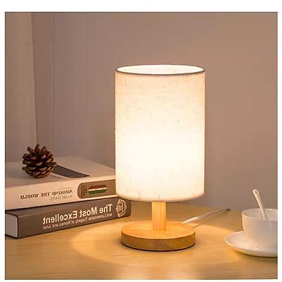 Đèn bàn nấm chao vải , thân gỗ decor trang trí bàn tab phòng ngủ