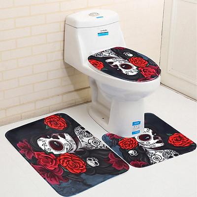 Halloween Skull Flower 3D Waterproof Shower Curtain,Non Slip Bathroom Pedestal Rug ,Toilet Lid Cover ,Floor Bath Mat Home Decoration