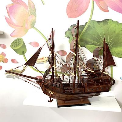 [Quà tặng trang trí] Mô hình tàu thuyền gỗ trang trí thuyền chở hàng/thuyền buôn - Thân tàu dài 40cm - Gỗ Cẩm